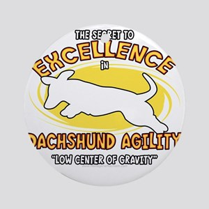 dachshund_excellence_blk Round Ornament