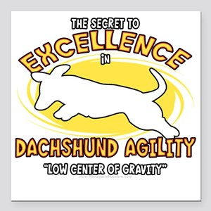 """dachshund_excellence_blk Square Car Magnet 3"""" x 3"""""""