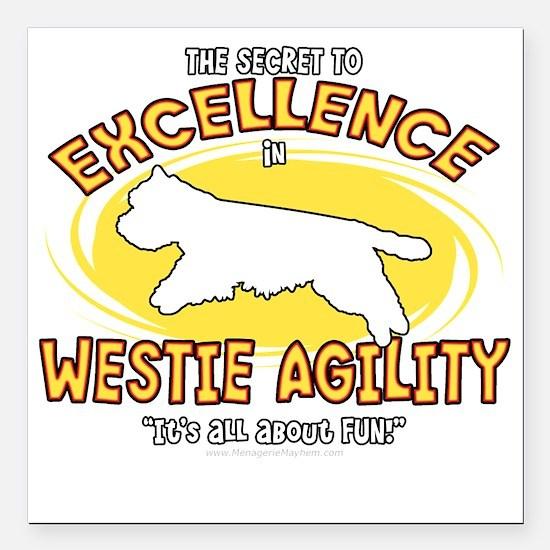 """westie_excellence_blk Square Car Magnet 3"""" x 3"""""""