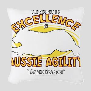 australianshep_excellence_blk Woven Throw Pillow