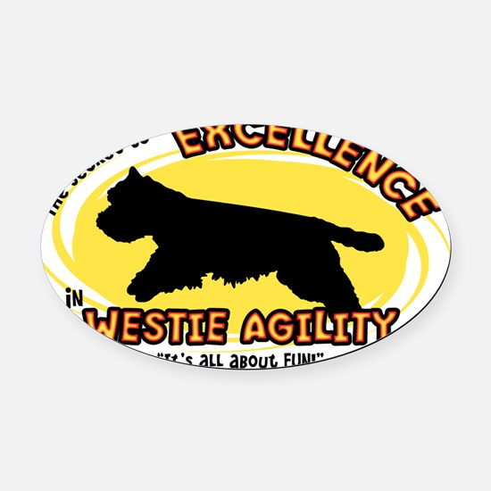 westie_excellence_oval Oval Car Magnet