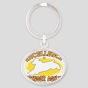 englishspringer_excellence_blk Oval Keychain