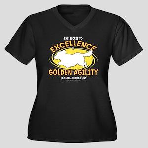 golden_excel Women's Plus Size Dark V-Neck T-Shirt