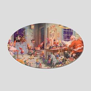 Vintage Christmas Santa Clau 20x12 Oval Wall Decal