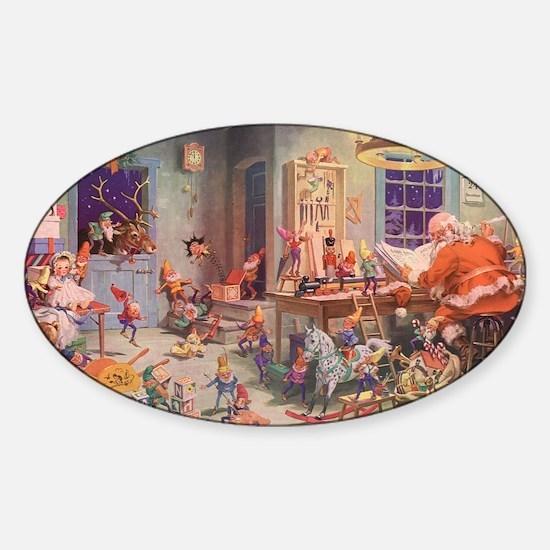 Vintage Christmas Santa Claus Sticker (Oval)