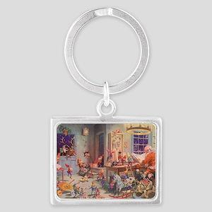 Vintage Christmas Santa Claus Landscape Keychain