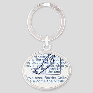 herecomethe_vizsla_blk Oval Keychain