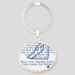 herecomethe_shiba_blk Oval Keychain