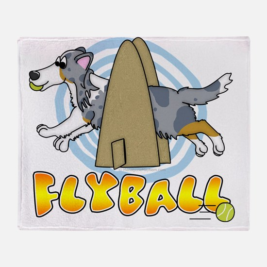 flyballcartoon_sheltiemerle Throw Blanket
