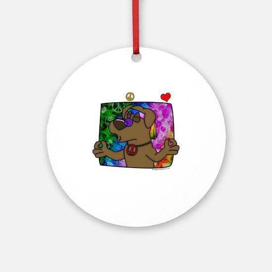 hippie_choclab_blk Round Ornament