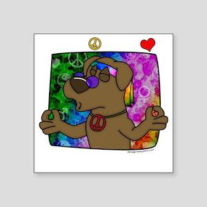 """hippie_choclab_blk Square Sticker 3"""" x 3"""""""