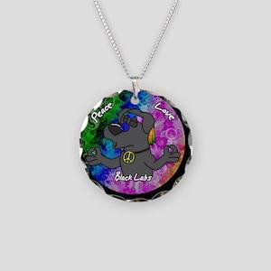 hippie_blacklab_ornament Necklace Circle Charm