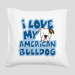 americanbulldog_animelove Square Canvas Pillow