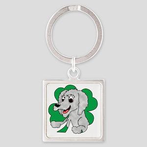 irishwolfhound_shamrock_blk Square Keychain