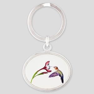 Hummingbird in Flight Oval Keychain