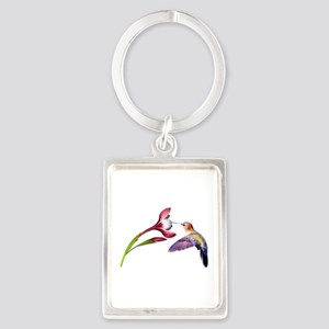 Hummingbird in Flight Portrait Keychain