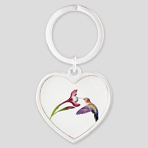 Hummingbird in Flight Heart Keychain