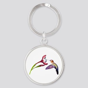 Hummingbird in Flight Round Keychain