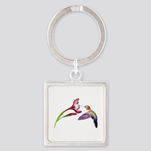 Hummingbird in Flight Square Keychain