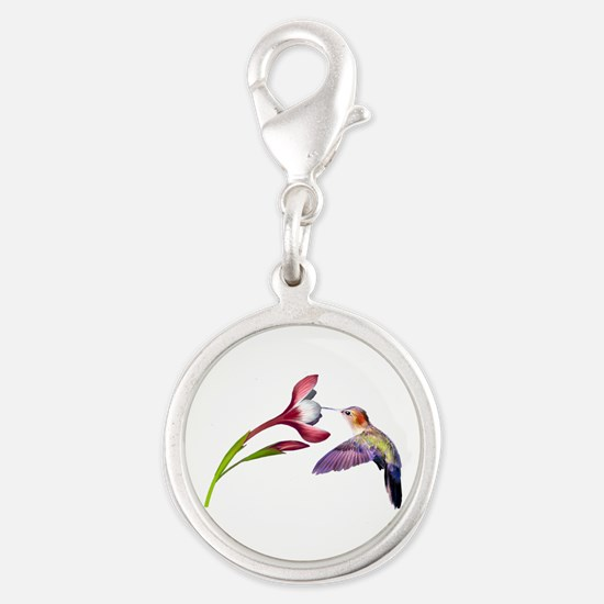 Hummingbird in Flight Silver Round Charm