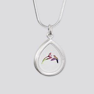 Hummingbird in Flight Silver Teardrop Necklace