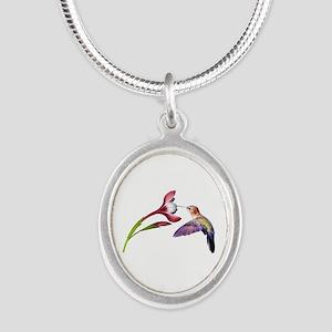 Hummingbird in Flight Silver Oval Necklace
