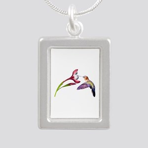 Hummingbird in Flight Silver Portrait Necklace