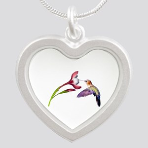 Hummingbird in Flight Silver Heart Necklace