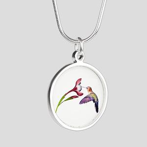 Hummingbird in Flight Silver Round Necklace