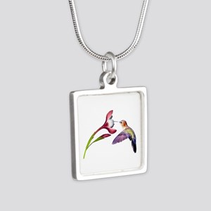 Hummingbird in Flight Silver Square Necklace