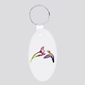 Hummingbird in Flight Aluminum Oval Keychain