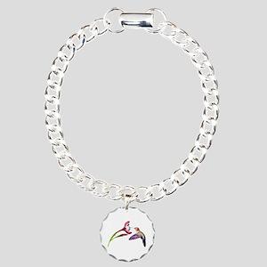 Hummingbird in Flight Charm Bracelet, One Charm
