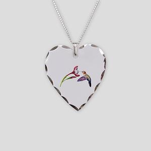 Hummingbird in Flight Necklace Heart Charm