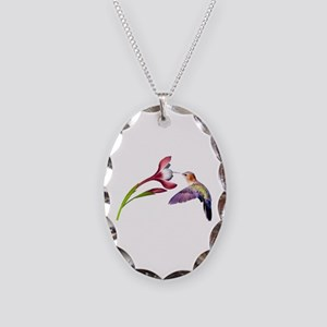 Hummingbird in Flight Necklace Oval Charm