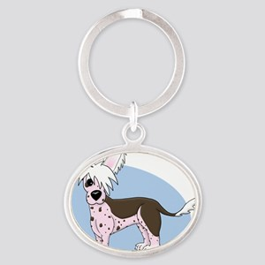 chinesecrested_animation Oval Keychain