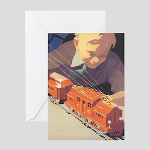Vintage Boy with Train Greeting Card