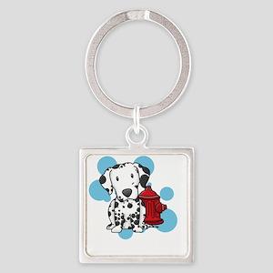 kawaii-dalmatian_blk Square Keychain