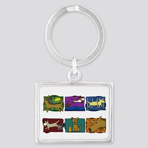 mutts_do_it_all_blk Landscape Keychain