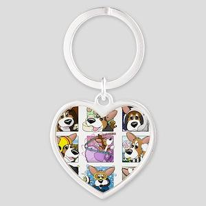 corgi-9boxes Heart Keychain