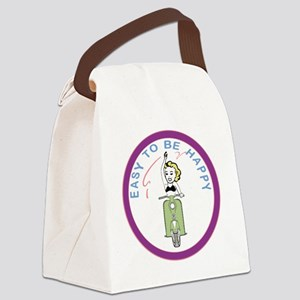 waving-girl-ver-1white Canvas Lunch Bag