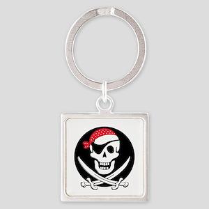 cant-sleep-pirates-black Square Keychain