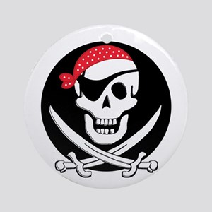 cant-sleep-pirates-black Round Ornament
