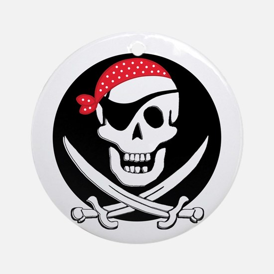 cant-sleep-pirates-black Round Ornament
