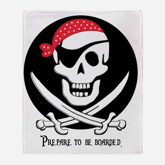 pirate-boarded-white Throw Blanket