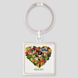 vegan-white Square Keychain
