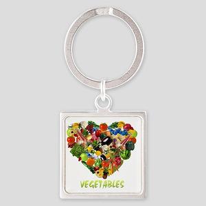 vegetables-white Square Keychain