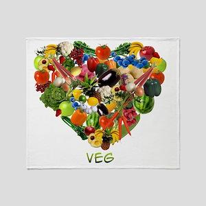 veg-white Throw Blanket