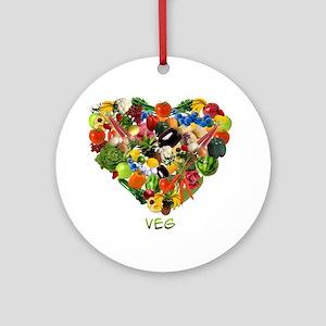veg-white Round Ornament