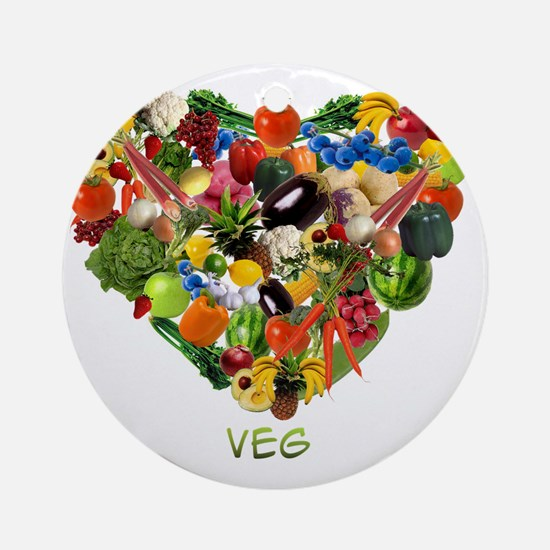 veg-white Round Ornament