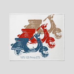 3-vespa-125-prima-blue-red-tan Throw Blanket